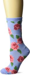Rose Print Coastal Blue Ladies Crew Socks