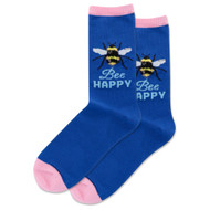 Bee Happy Dark Blue Ladies Crew Socks