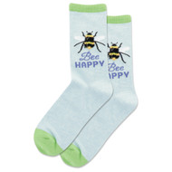 Bee Happy Mint Melange Ladies Crew Socks