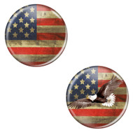 "Distressed USA Flag Patriotic Rustic 2.25"" Refrigerator Bottle Opener Magnets - 2 Pack"
