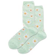 Daisy Mint Ladies Crew Socks