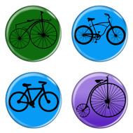 "Bike Silhouettes Cycling Biking 1.5"" Refrigerator Magnets - 4 Pack"