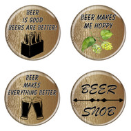 """Beer Memes Wood Grain 1.5"""" Refrigerator Magnets - 4 Pack"""