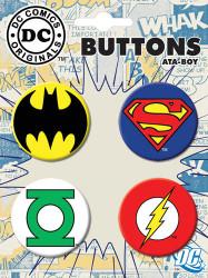 Superman Batman Green Lantern Flash Logos 4 Piece Button Set