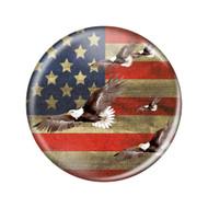 """Enthoozies Distressed USA Flag Bald Eagles Soaring 2.25"""" Refrigerator Magnet Bottle Opener Patriotic"""