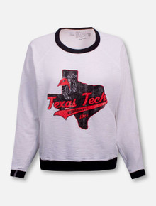 Retro Brand Texas Tech Red Raiders State of Texas with Rearing Rider French Terry Long Sleeve Fashion Top