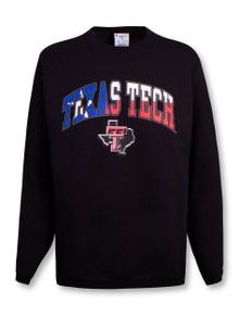 Champion Texas Tech Red Raiders Texas Flag Arch over Pride Logo Crew Sweatshirt