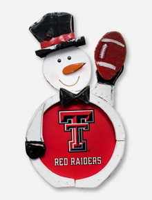 Texas Tech Red Raiders Double T Wooden Snowman Decor