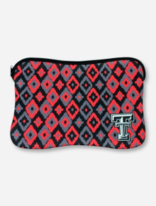 Texas Tech Double T Corner Print on Black, Red & Grey Neoprene Laptop Case