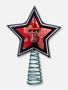 Texas Tech Red Raiders Double T Mosiac Glass Star Tree Topper