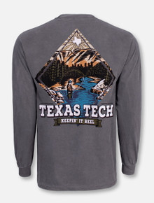 "Texas Tech Red Raiders Black and White Double T ""Fly Fishing"" Long Sleeve T-Shirt"