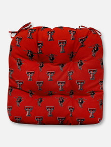 Texas Tech Red Raiders Repeating Double T and Masked Rider Outdoor Seat Cushion