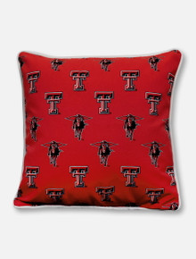 Texas Tech Red Raiders Repeating Double T and Masked Rider Outdoor Pillow