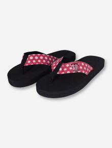 Texas Tech Red & White Polka Dot YOUTH  Flip Flops