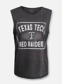 "Texas Tech ""Dora"" Black and White Double T Vintage Wash Muscle Tank Top"