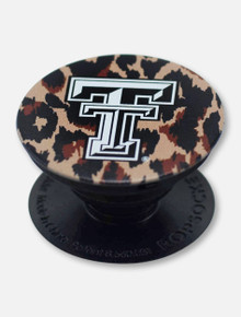 Texas Tech Red Raiders Black and White Double T Cheetah Pop Socket