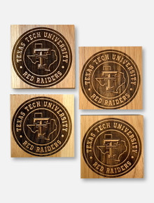 Texas Tech Red Raiders Circle Pride Coasters With Built-In Bottle Opener Set Of Four