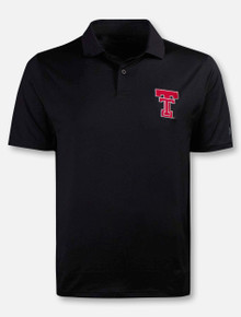 Front View Under Armour Texas Tech Red Raiders Performance 2.0 Throwback Double T Polo in Black