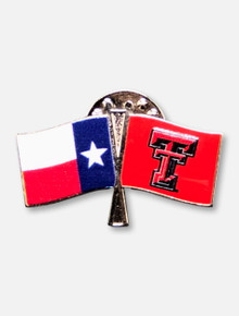 Texas Tech Red Raiders Double T and Texas Flag Crossed Lapel Pin