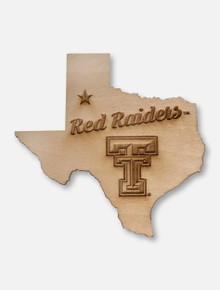 Texas Tech Red Raiders Double T State Wooden Magnet