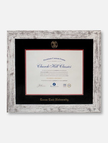 Texas Tech Red Raiders Barnwood White Gold Embossed Diploma Frame