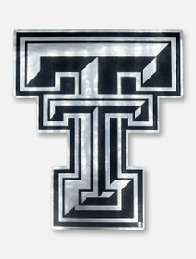 Texas Tech Red Raiders Metallic Silver Double T Decal