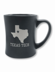 Texas Tech Red Raiders Etched State Silhouette Matte Coffee Mug