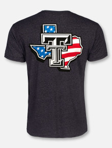 """Texas Tech Red Raiders Black and White Double T """"American Flag Pride"""" T-Shirt"""
