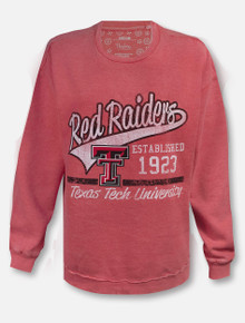 """Pressbox Texas Tech Red Raiders Double T """"Tailspin"""" Red Hi-Lo Fleece Crew"""