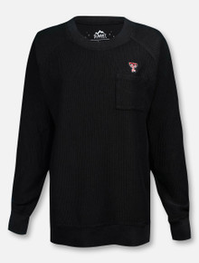 Summit Texas Tech Red Raiders Pocketed Double T Black Corded Soft Long Sleeve T-Shirt