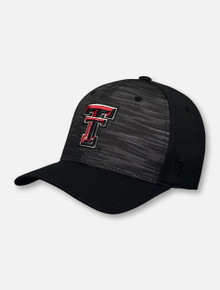 "Top of the World Texas Tech Red Raiders ""Pepper"" Black Double T Twisted Stretch Fit Cap"