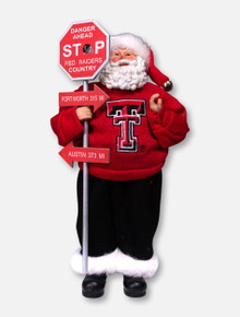 Texas Tech Red Raiders Country Sign Post Santa Figurine