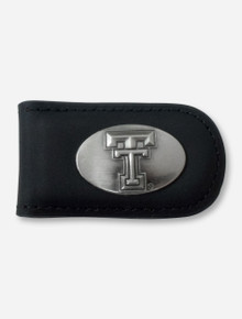 Texas Tech Double T Emblem on Black Leather Money Clip