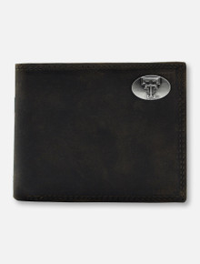 Texas Tech Double T Emblem on Pass Case Light Brown Leather Wallet