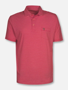 "Peter Millar Texas Tech Red Raiders ""Major"" Mini Double T Pocket Striped Red Polo"