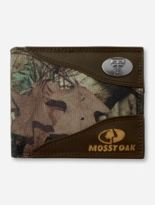 Texas Tech Double T Emblem on Pass Case Mossy Oak Camo Wallet