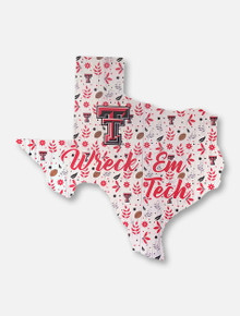 Texas Tech Red Raiders Football Floral State Wooden Sign