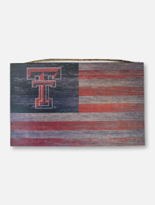 Texas Tech Red Raiders Double T on Distressed Flag Wood Sign