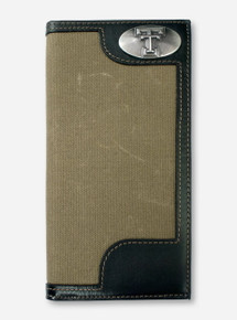 Texas Tech Double T Emblem on Roper Moss Green Canvas Wallet