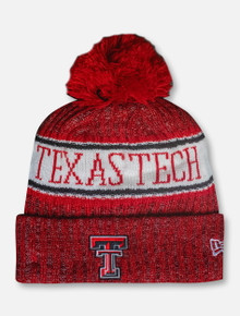 New Era Texas Tech Red Raiders Knit Cuff Removable Pom Pom Beanie