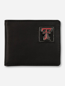 Texas Tech Double T on Black Leather Wallet