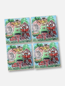 Texas Tech Red Raiders Football Field Collage Wood Coaster Set