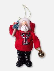 Texas Tech Red Raiders Double T Santa with Tree and Bell Ornament