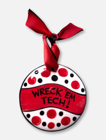 "Texas Tech Red Raiders ""Wreck 'Em Tech"" Hand Painted Ceramic Ornament"
