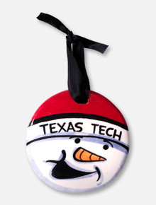 Texas Tech Red Raiders Snowman Hand Painted Ceramic Ornament