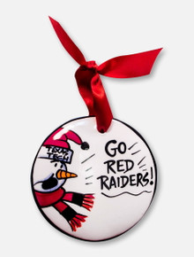 "Texas Tech Red Raiders ""Go Red Raiders"" Snowman Hand Painted Ceramic Ornament"