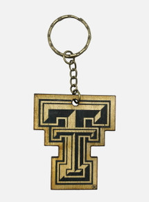 Texas Tech Red Raiders Double T Wooden Keychain