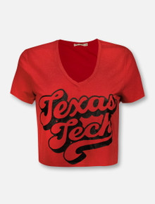 "Texas Tech Red Raiders ""Hot Rod Script"" V Neck Crop Top"
