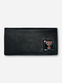 Texas Tech Square Double T Emblem on Black Leather Checkbook Wallet