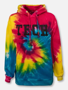 "Texas Tech Red Raiders ""TECH Block"" Tie Dye Hoodie"